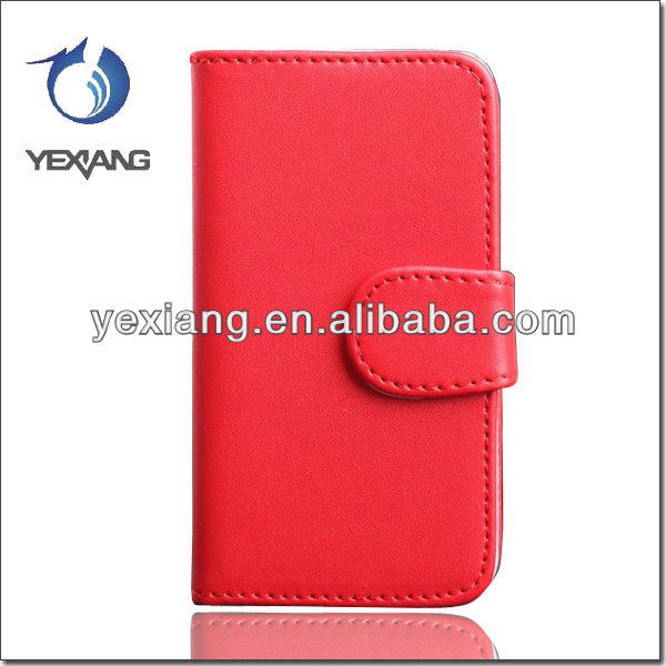 Hot Style Red Cell Phone Credit Card Slot Wallet Leather Case For Iphone 4