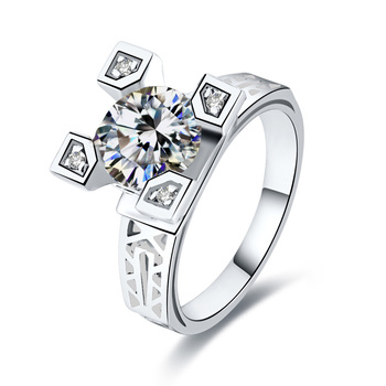 Fashion Cz Eiffel Tower Rings Wedding Ring For Women Silver Jewelry Zirconia Vintage Lady