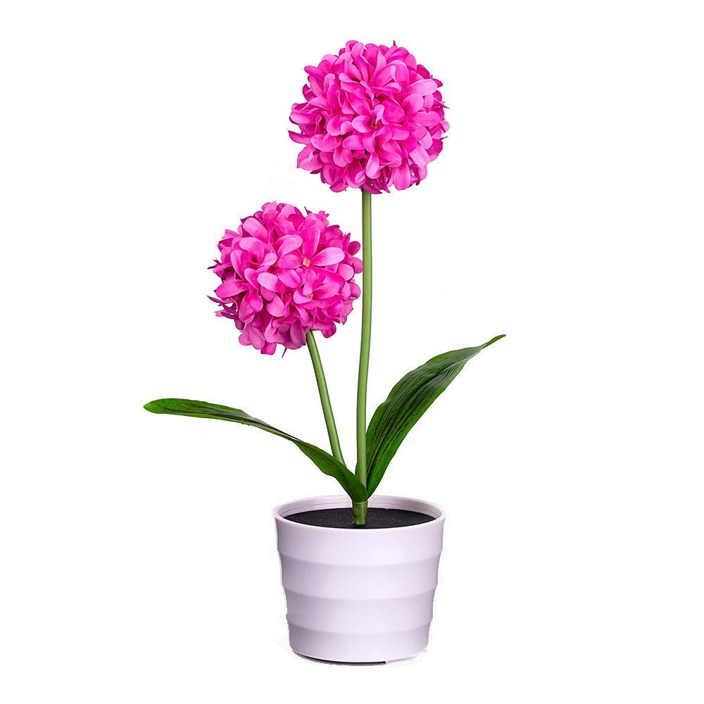 Solar Onion Ball Flower Lights,Quaanti Solar Flower Lights LED Artificial Rose Pot Flower Bonsai LED Lamp 2018 (Hot Pink)
