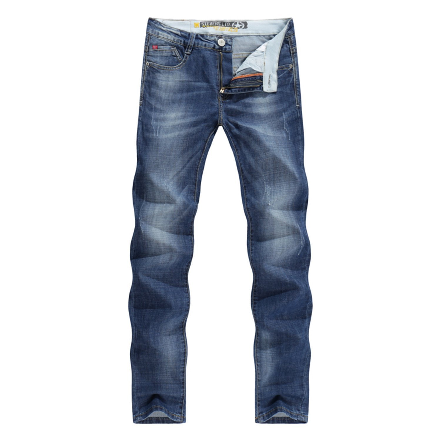 Ivan Johns Pants Casual Thin Summer Straight Slim Fit Blue Jeans Stretch Denim Pants Trousers Classic Cowboys Young Man