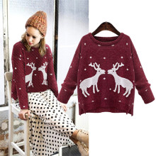 New Design Pullover Reindeer Christmas Women Knitwear 2016