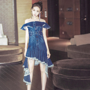 Special cutting tassel fringed fish tail skirt women sexy off-shoulder washed denim dress Ladies casual mini ruffled skirt