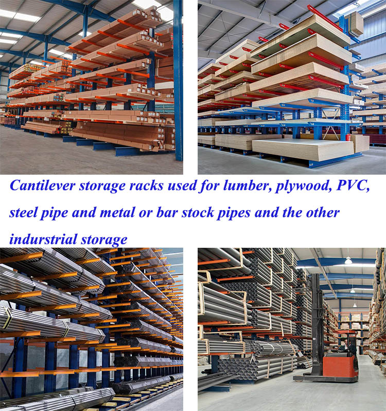 Anti-rust powder coated heavy duty shelf rack industrial pipe tube shelf cantilever racking