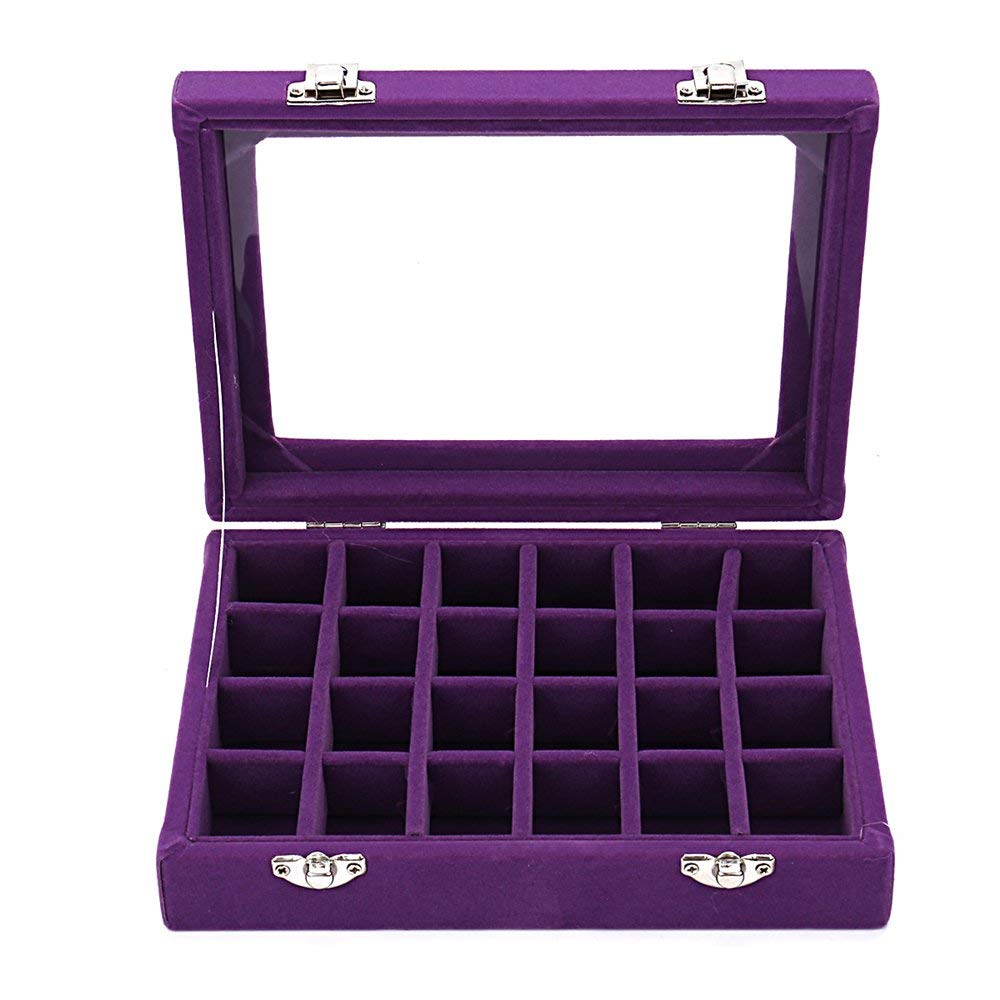 Get Quotations Sky Piea 24 Grid Velvet Gl Jewelry Box Jewellery Organiser Earring Ring Storage Holder Case
