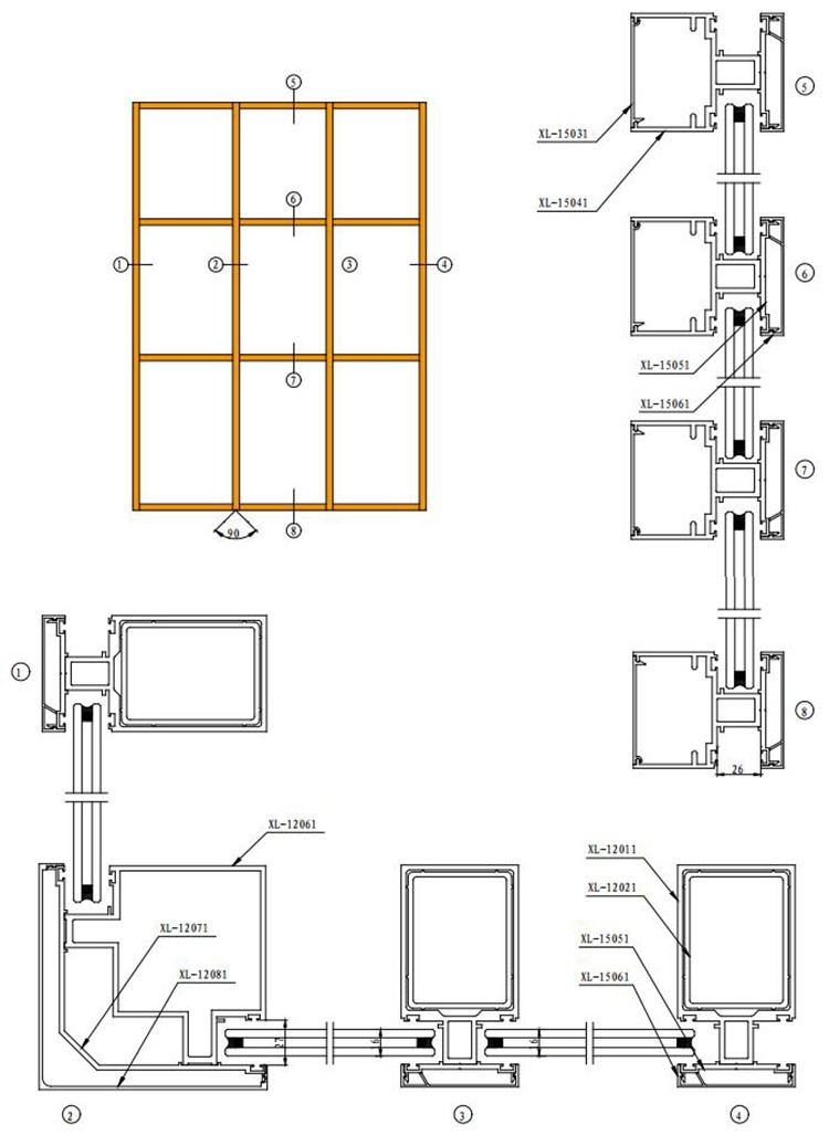 Aluminum Partition Wall Curtain Wall Detail Dwg Structural ...