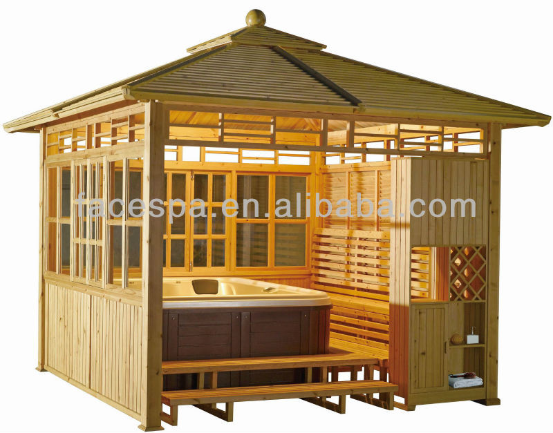 Whirlpool pavillon x spa pavillon fs lt01 holz im garten garage dach - Whirlpool pavillon ...