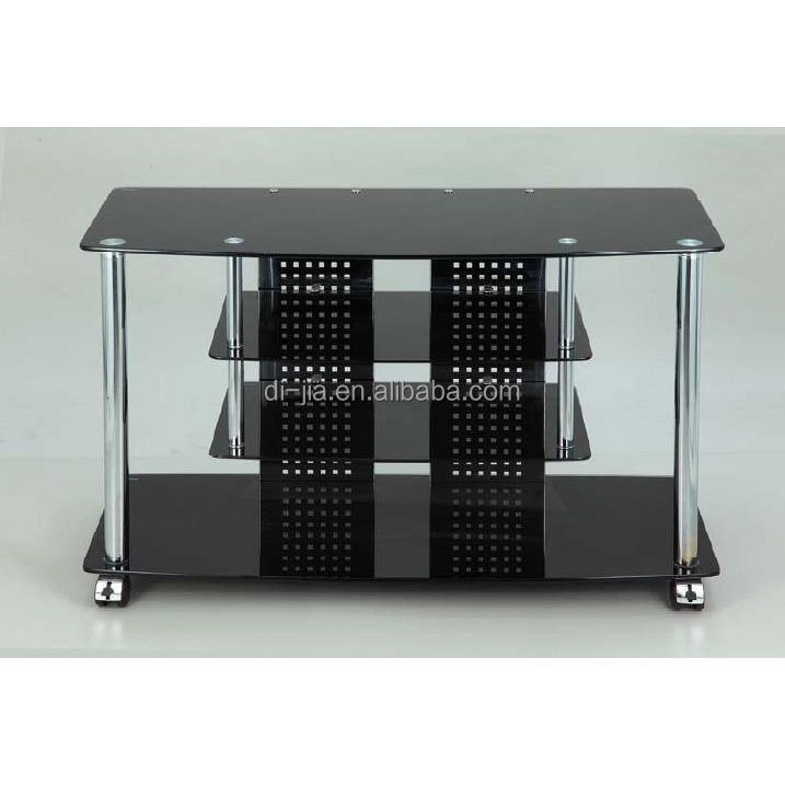 4 tier black glass LCD TV Stand 0069T