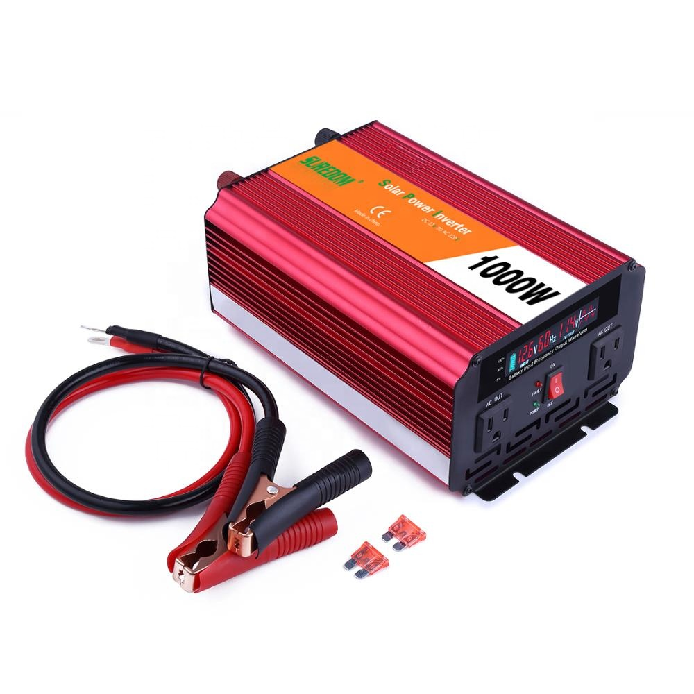 Suredom 1000w Power Inverter Modified Sine Wave DC12v to AC220v 2000w Peak Power Portable Home Use