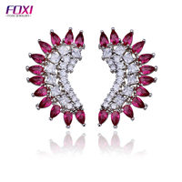 Beautiful synthetic ruby stone stud earrings women jewelry