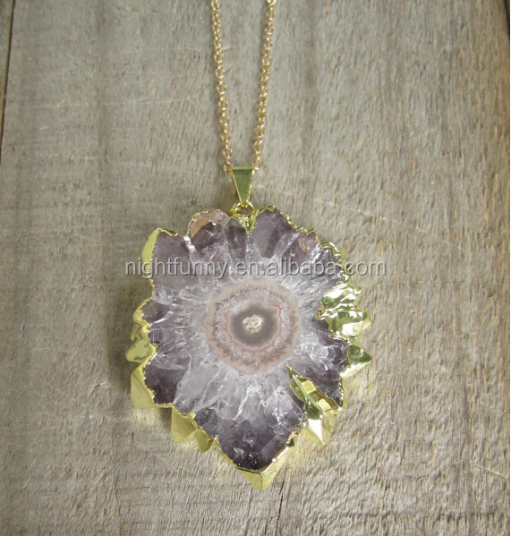 Natural Stone Slice Necklace, Long Layering Druzy Necklace, Amethyst Stalactite Slice Gold Dipped Necklace