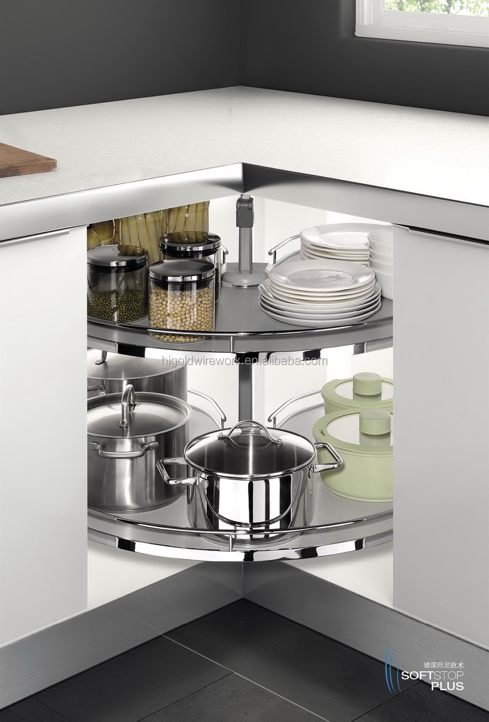 Kitchen Cabinet Carousel Corner Kitchen Cabinet 270 Degree Corner Carousel Storage Basket Buy