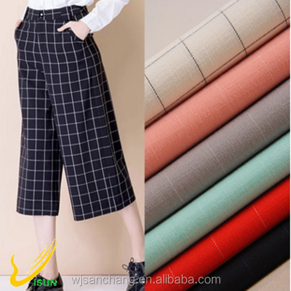 2/1 twill lattice nylon cotton fabric for women's trousers
