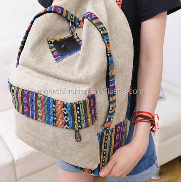 Monroo custom floral print canvas softback day backpack in 2015 backpack wholesale