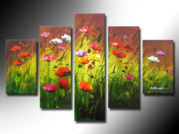 livraison gratuite color pavot fleurs fleurs 5 panneau peintures l 39 huile h qualit la main. Black Bedroom Furniture Sets. Home Design Ideas
