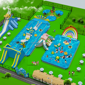 Adult and children inflatable water park combo inflatable slide and pool sucessful project in BEIJING Bird's Nest