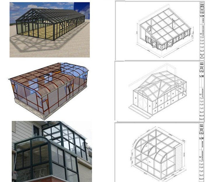 Aluminium Free Standing Sun Rooms Prefabricated Glass