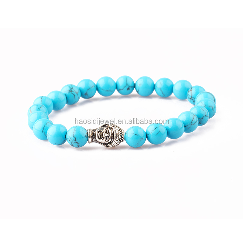 Fashion stone beads jewelry silver buddha turquoise stretch bracelet for men wholesale