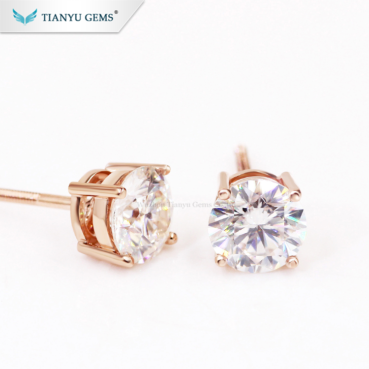 Tianyu customized 14k/18k rose gold screw back earring 6.5mm 1ct moissanitie stud earring for ladies