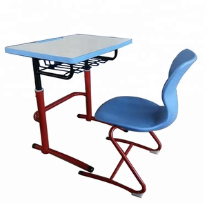 Round Tube Student Height Adjustable Reading Table And Chair