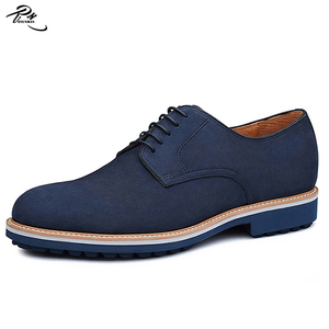 Navy color nubuck leather shoes men casual style rubber form outsole 2016