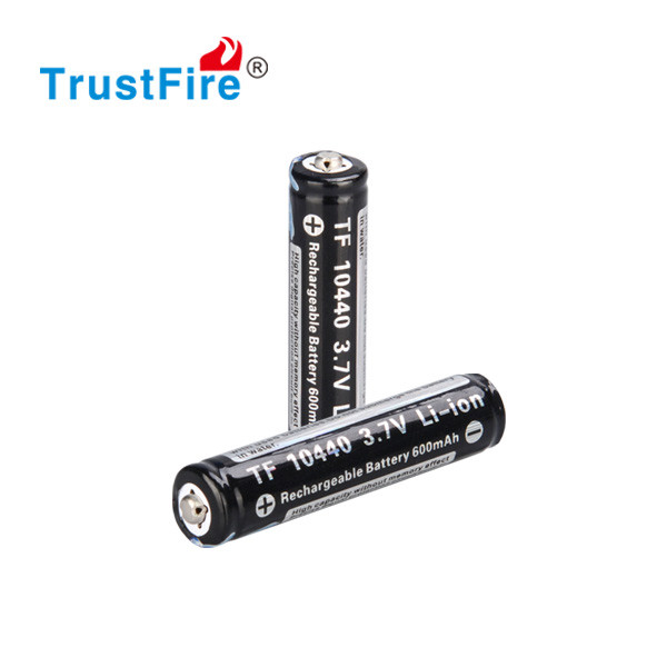 TrustFire 10440 li-ion rechargeable cylindrical cell battery 600mah flat lithium battery