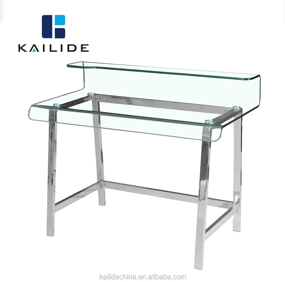 Elegant Hot Bent Clear Glass Top PC Desk Table with Stainless Steel Legs