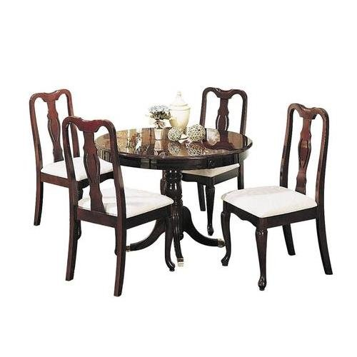 Get Quotations · Acme Furniture Queen Anne Collection 06005 5 PC Dining  Room Set With Round Table 4 Side