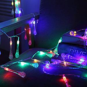 8.2ft 20 LED Waterdrop Battery Operated Fairy String Lights Christmas Lights Battery Powered String lights for Garden, Patio, Yard, Home, Christmas Tree, Parties (Colorful)