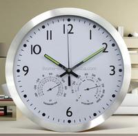 14''Aluminum wall mounted digital clocks with outdoor temperature