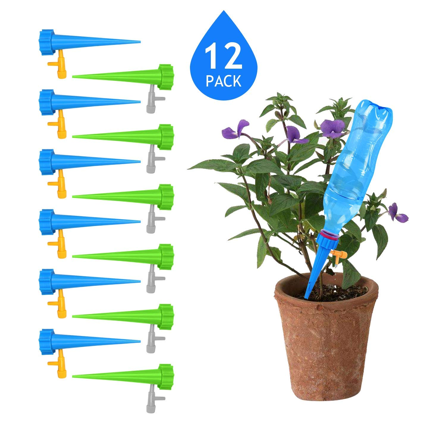 BaikoubaoweiLr Plant Watering Devices with Slow Release Control Valve Switch Automatic Watering Devices Plant Self Watering Spike System Care Your Indoor & Outdoor Home Office Plants-12 PCS