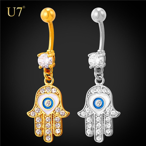 U7 Women Evil Eyes Summer Jewelry 14G Dangle Navel Belly Rings Navel Piercing Hamsa Hand Belly Rings