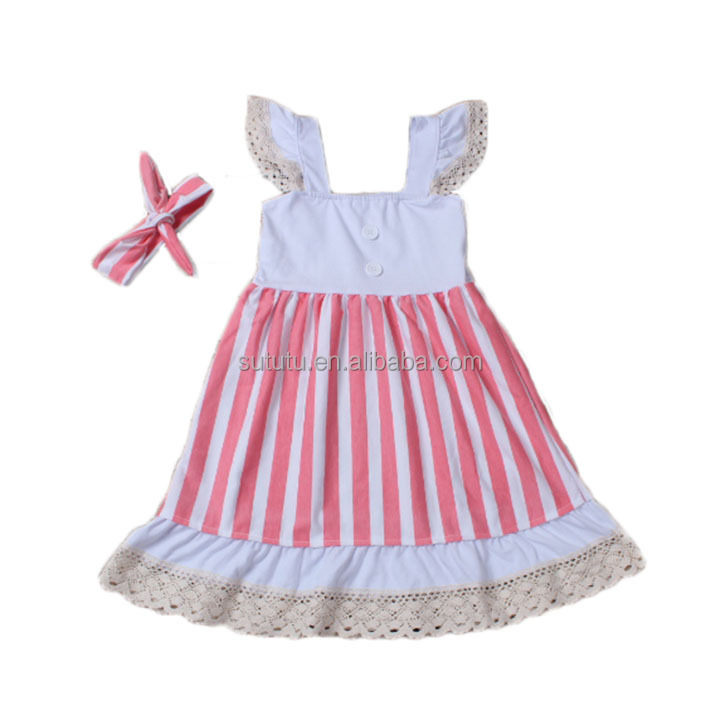 Sue Lucky 2016 baby kids red white stripes one piece princess dress with headwrap