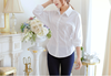 2015 latest women fashion long sleeve black shirt ladies Office Formal white shirt