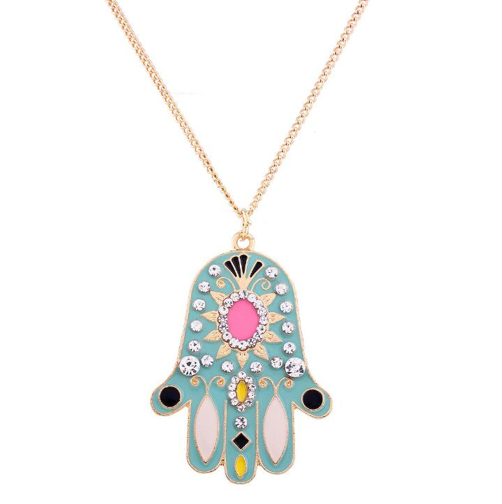 QD128 Huilin Jewelry Hamsa Hand Boho Necklace Enamel Crystal Hamsa Evil Eye Necklace
