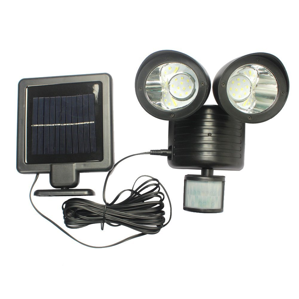 MIYA LED Solar Double Headlights Wall Light Human Induction Sensor Motion Waterproof Headlamp Light Sensor Outdoor Garden Lamp Emergency Lighting LED-Black