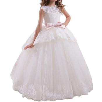 2018 Blanco Y Rosa Nina De Las Flores Vestidos Para Boda Hermosa Vestidos De Primera Comunion Para Ninas De 2 A 12 Anos Las Ninas Vestidos De Fiesta