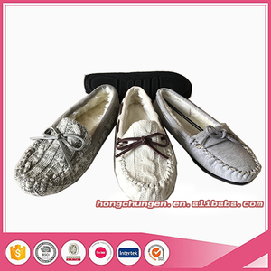 New style knit moccasin slippers with soft sole