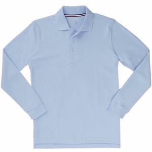Boy's Long Sleeve Pique Polo School Uniform Shirt