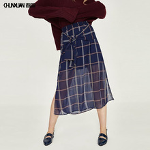 Ladies casual long chiffon check slit skirt