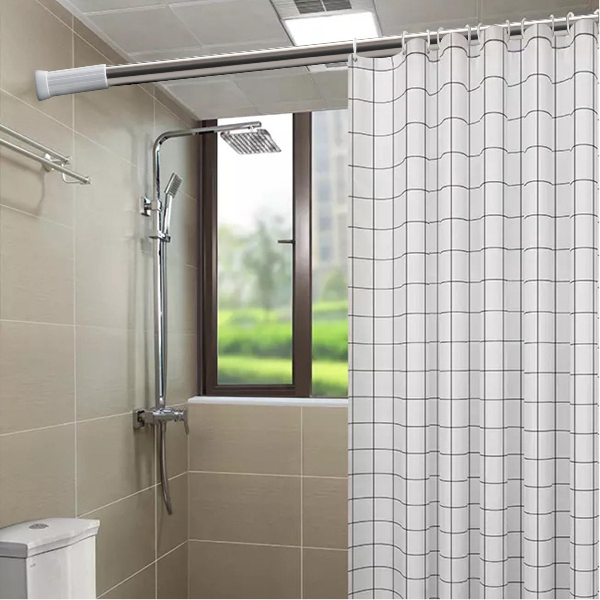QJMAX Rust Proof SS Shower Curtain Tension Rod, Adjustable Bathroom Stall Tension Pole