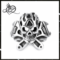 Mens Boys Black Silver Tone Wrench Cross Flame Skull Ring 316L Stainless Steel