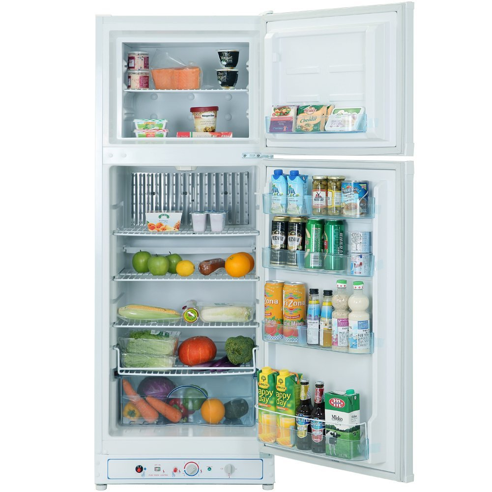 SMETA Gas Refrigerator with Top-freezer propane/electric 2-way Absorption Fridge,9.3 Cubic Feet,White