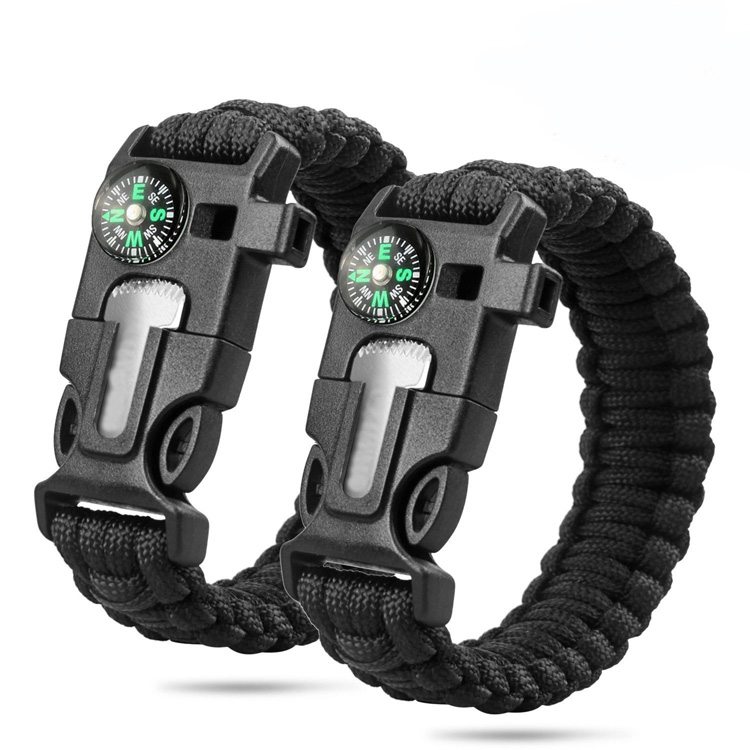Adjustable Climbing 550 Multifunctional Parachute Cord Buckle Paracord Bracelet with Compass фото