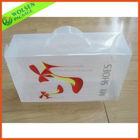 Plastic Transparent clear pvc boxes with handle for shoe packing