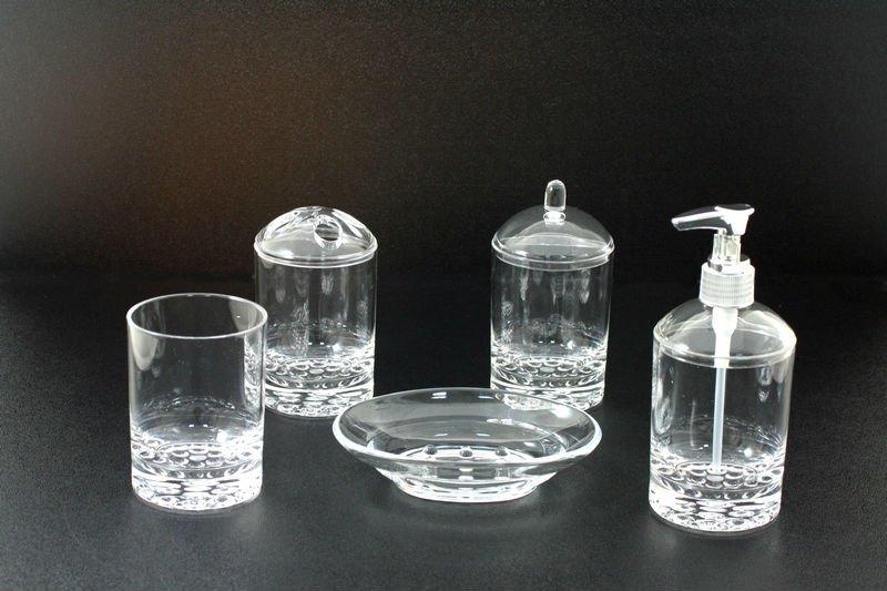 Clear Bubble Base Bath Accessories Set
