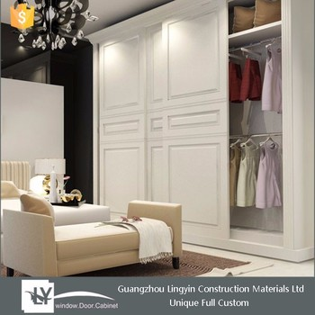 2015 Cheap Closet European Style Solid Wooden White Sliding Wardrobe