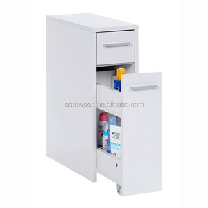 Slimline Storage Cupboard Unit White Colonial Style Organiser Cabinet for the Bathroom