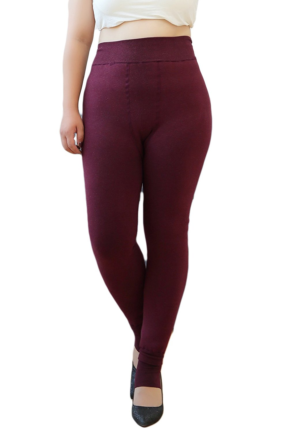 ecb6078c5 Get Quotations · Winter Warm Plus Size Leggings High Waisted Fleece Lined  Tummy Control Leggings Lightweight Extreme Stretchy Chunky