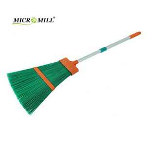 Yard sweeping grass leaves cleaning long handle broom aluminum telescopic garden usage plastic cleaning broom