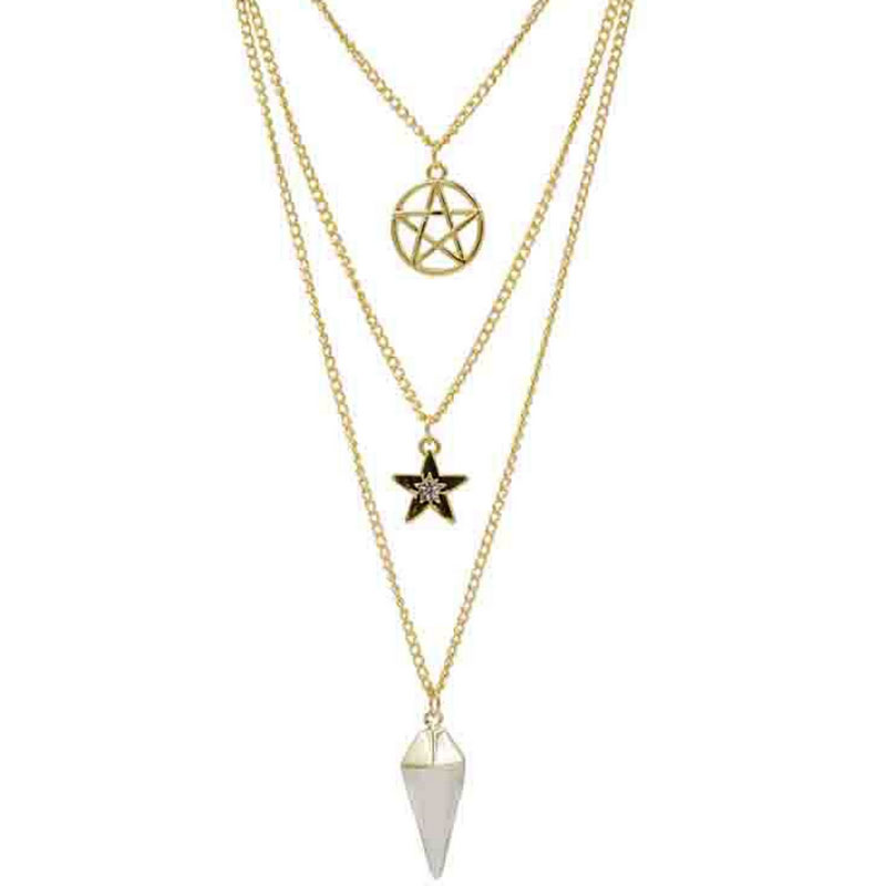 Fashion New Necklace Multi-Level Star Arrow Alloy Natural Stone Sweater Chain Foreign Trade